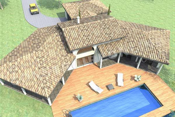 plan de maison en U mediterraneenne GALICE ciel piscine House