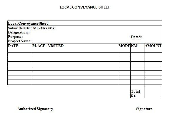 Local Conveyance Sheet Financial Management Sheet Management