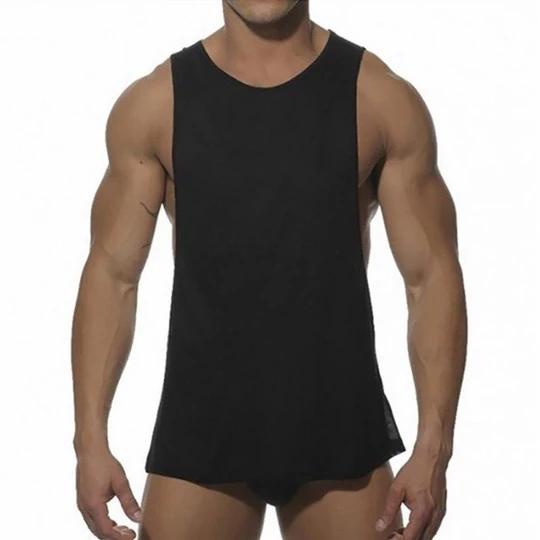Men Sleeveless Shirt Tank Top Sport Fitness Gym Vest Solid Color Summer Clothing