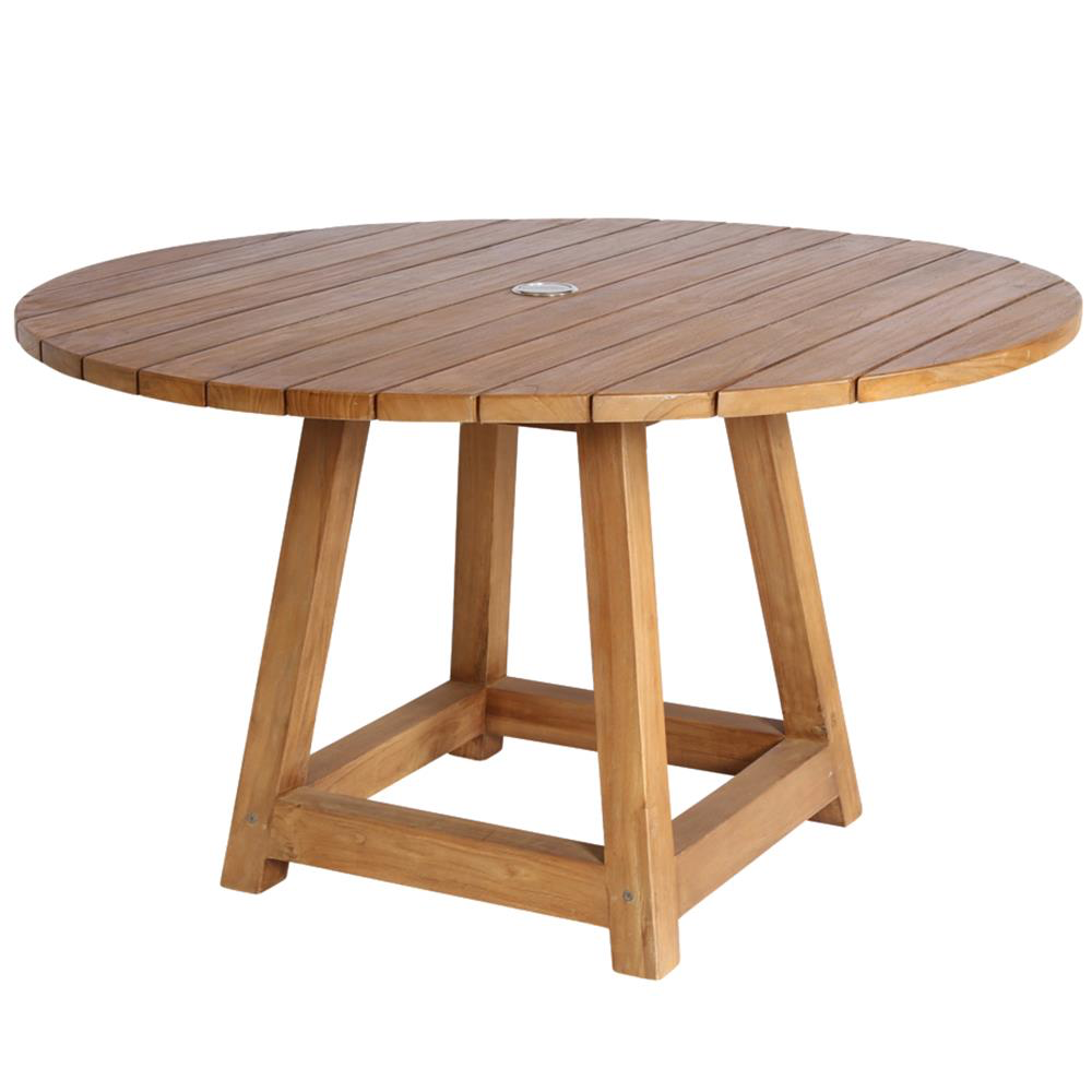 Greg Rustic Lodge Reclaimed Teak Round Outdoor Dining Table