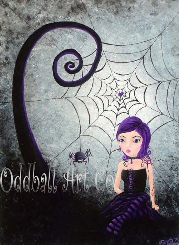Little Miss Muffet - Dark Gothic Lowbrow Fantasy Girl Surreal Purple Black Spider Web Acrylic Painting Original & One of a Kind