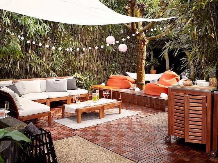 Deco Terrasse Jardin Voile Ombrage Guirlande Lumineuse Boules Papier