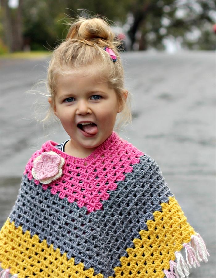crochet wool poncho | toddler girl | winter