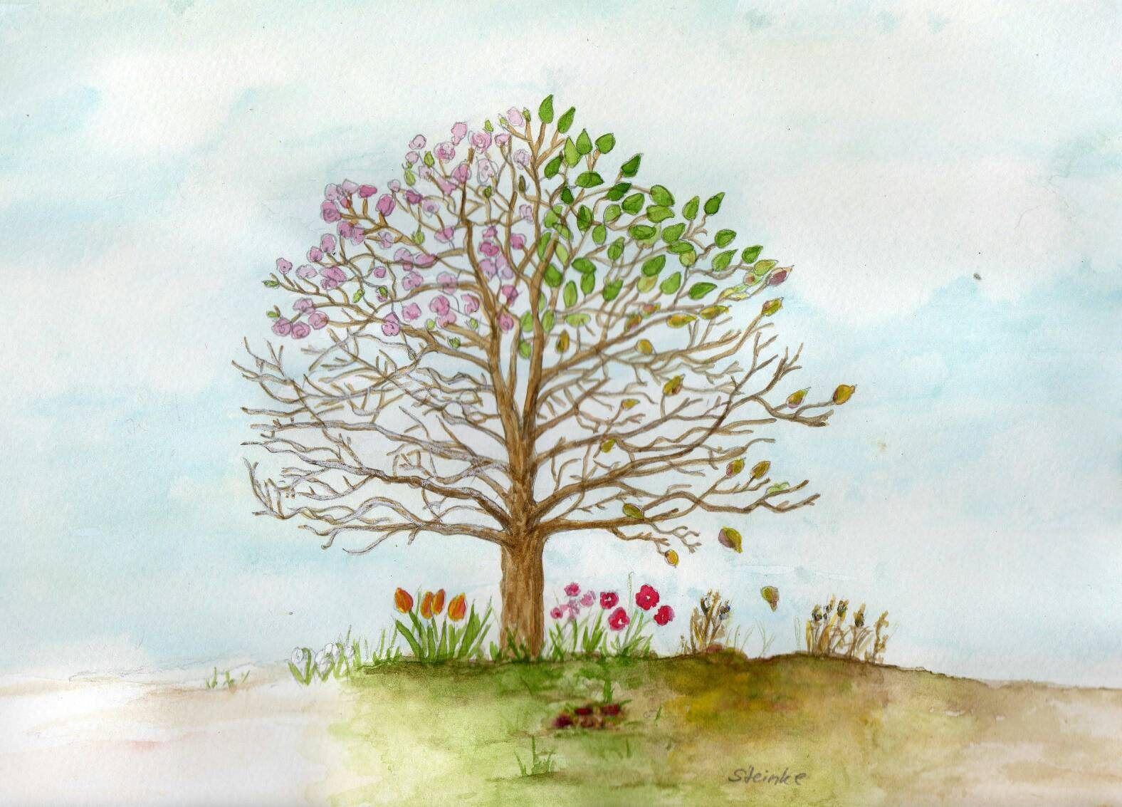 Vier Jahreszeiten Baum Original Aquarellmalerei Etsy Watercolour Painting Painting Original Watercolor Painting