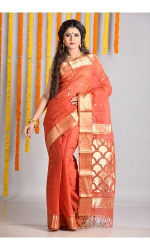Rust Designer Tant Saree of category A Grand Puja Collection With Trendy Fashion presented by the most famous saree boutique in kolkata Adimohinimohankanjilal