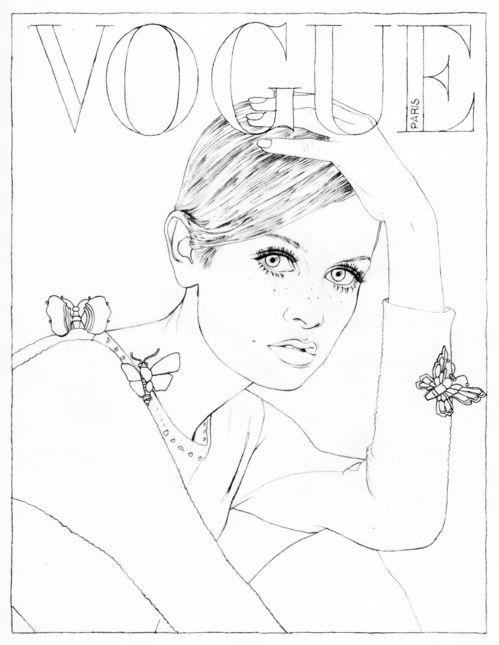 Vogue A To Z Coloring Book Twiggy par Henry Clarke verter Vogue Paris ilustracin