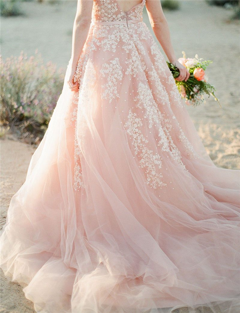 Pearls Wedding Dresses Blush Pink Long Bridal Gowns Lace Appliques ...