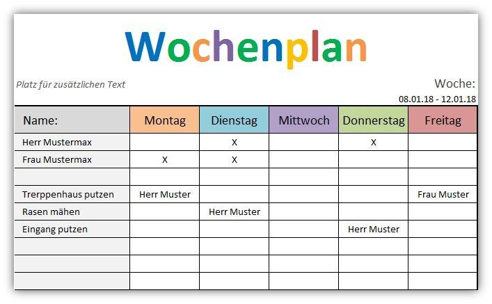 Kostenlose Vorlage Wochenplan - Vorlage für Excel. Trage deine ...
