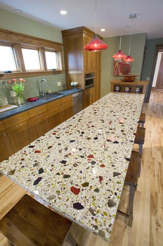 Recycled Glass Countertop Eclectic Kitchen Design Glass Countertops Recycled Glass Countertops