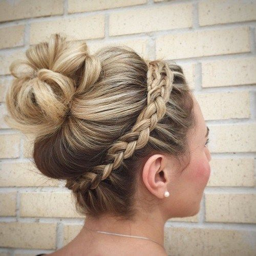 Bun Updo With A Headband Braid Braided Headband Hairstyle Headband Hairstyles Dance Hairstyles