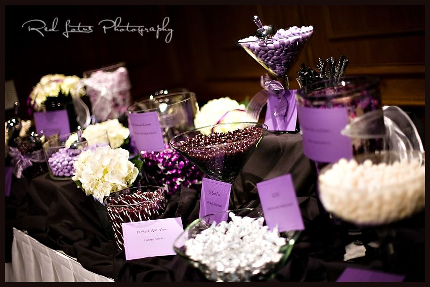 "Really like the idea of a ""purple"" candy bar at a wedding..."