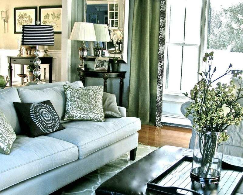 Décoration de salon \u2013idées avec coussins,tableaux et rideaux