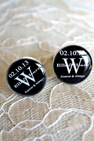 White Truffle Studio — Custom Monogram Cufflinks #wedding day,  #classy,  love  #gift -  #lace