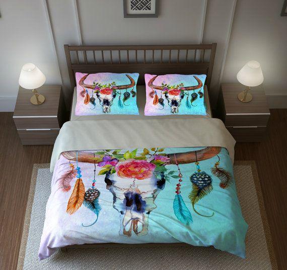 Bohemian Chic Bedding boho chic bull skull bedding, southwest dream catcher skull floral