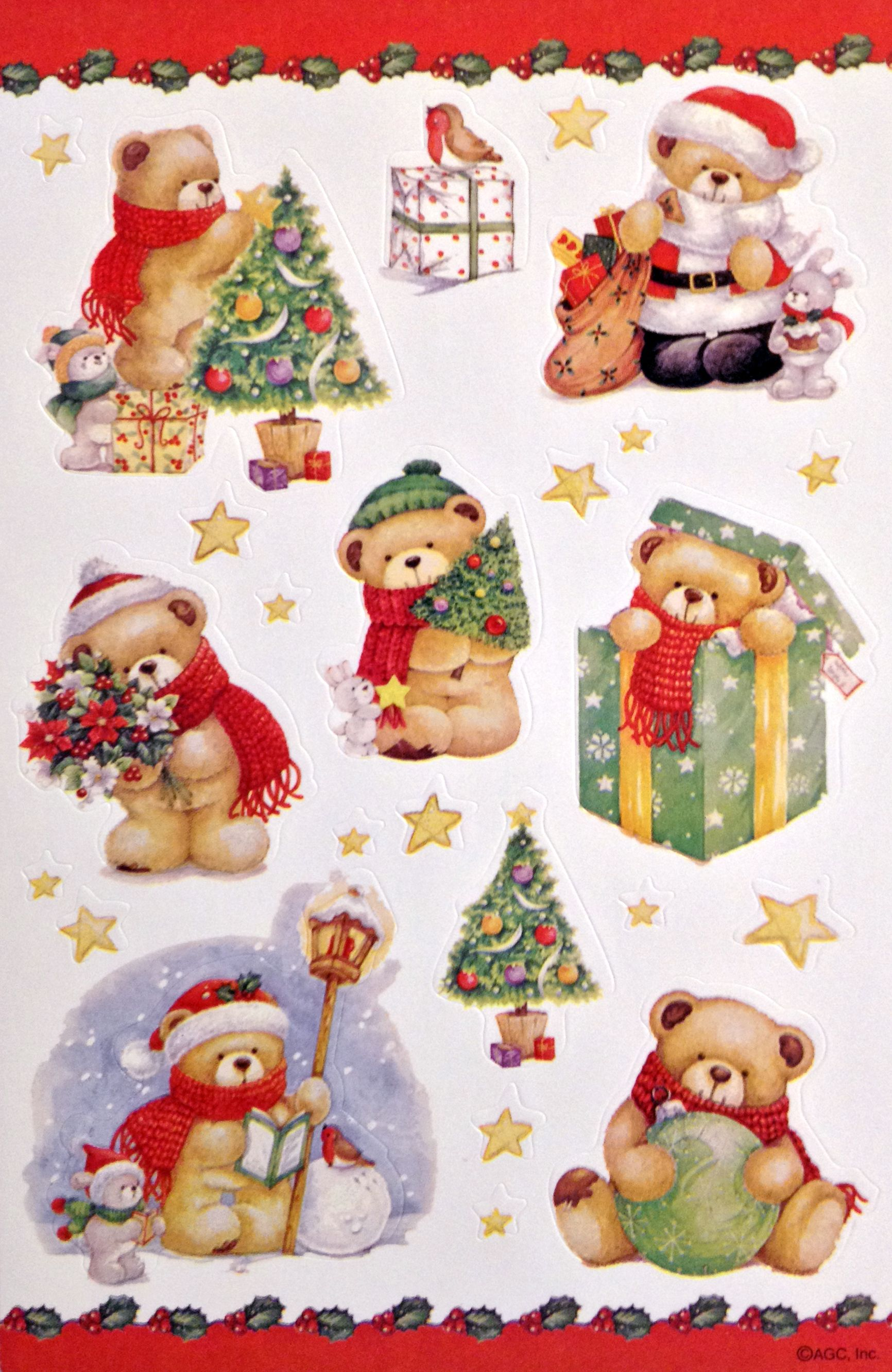 Vintage Christmas Bears Sticker Sheet By Agc Christmas Ephemera Hello Kitty Christmas Christmas Paper