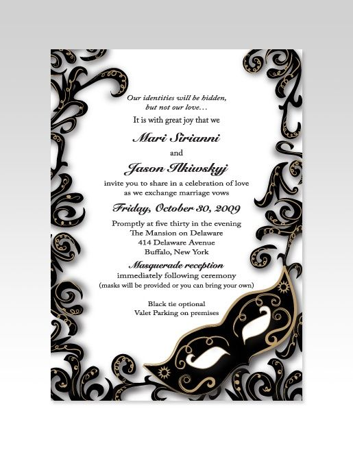 gorgeous black and white invitations for a masquerade wedding ...