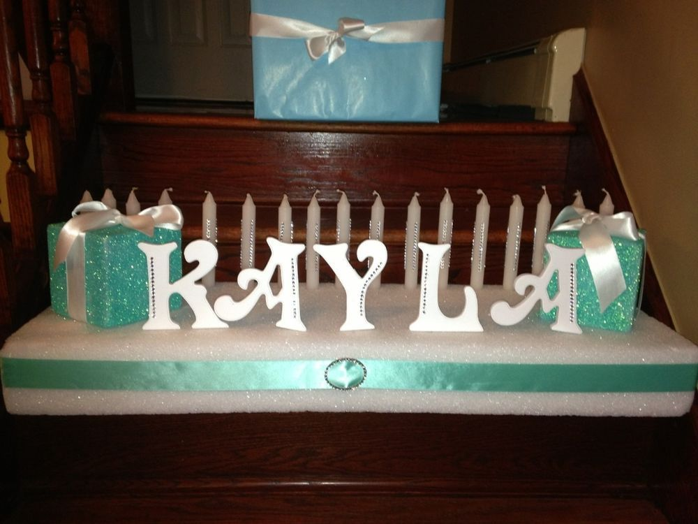 Sweet 16 Birthday Candle Ceremony Center Piece Tiffany Style KAYLA