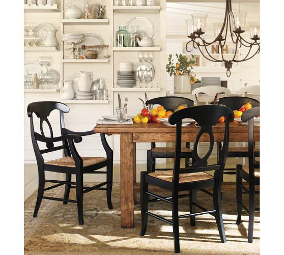 Light Wood Table With Black Chairs Rush Seat Beautiful Dining
