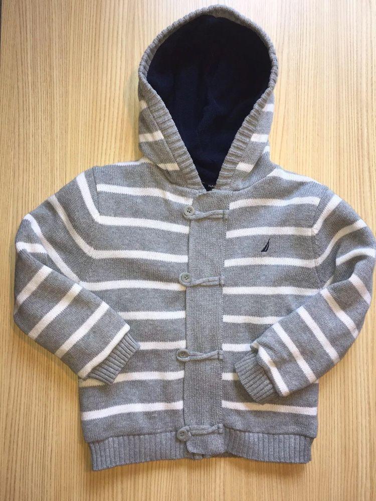 fcf4866fbd40 Nautica Boys Gray Stripe Sweater Jacket Size 5T