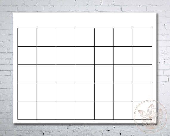 Blank Calendar Printable Page Ready To Print Calendar  Shop Small