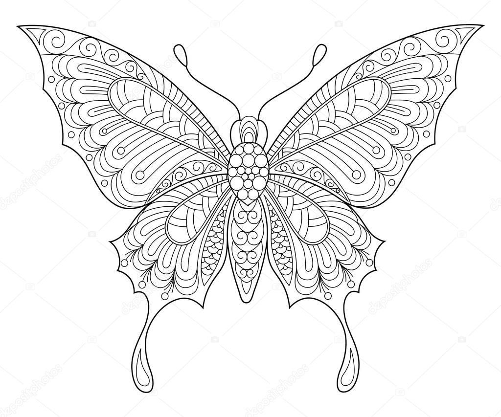 Motyl Malowanie Antystresowy Kolorowanki Dla Doroslych Doodle
