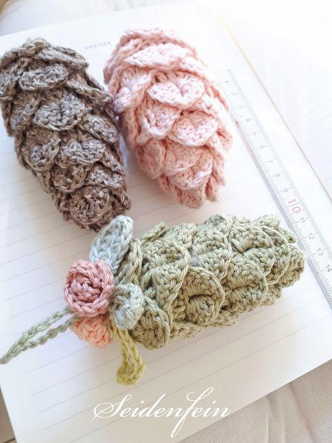 seidenfeins Blog vom schönen Landleben: Update Häkelzapfen * Tutorial * Crocheted pine cones