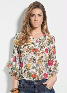 8459eacb2 Camisa Colcci Floral Manga 7 8 - Colcci