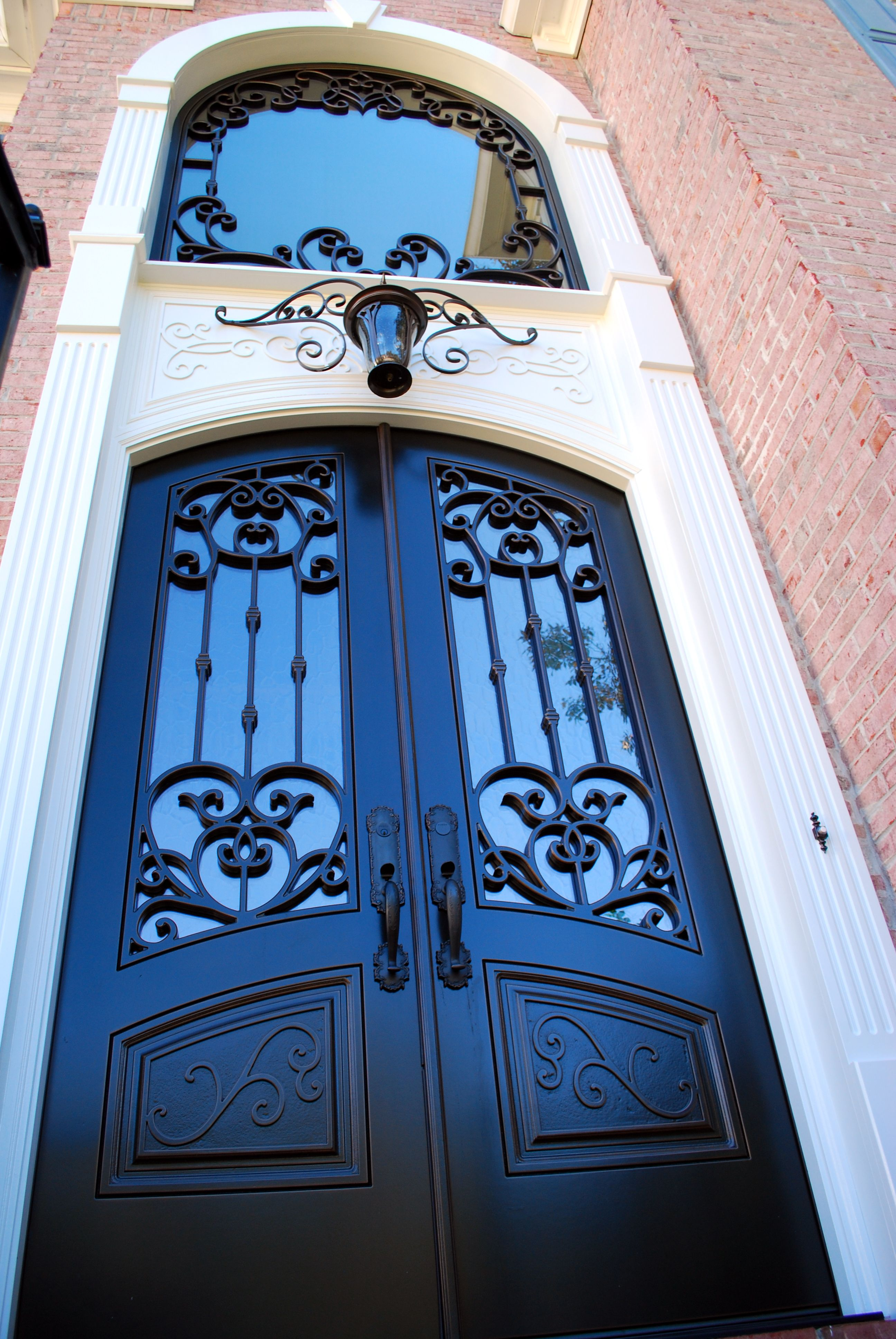 Double Front Entry Doors with Matching Transom Window - Versailles Panel Design - Finished in Weathered & Double Front Entry Doors with Matching Transom Window - Versailles ...