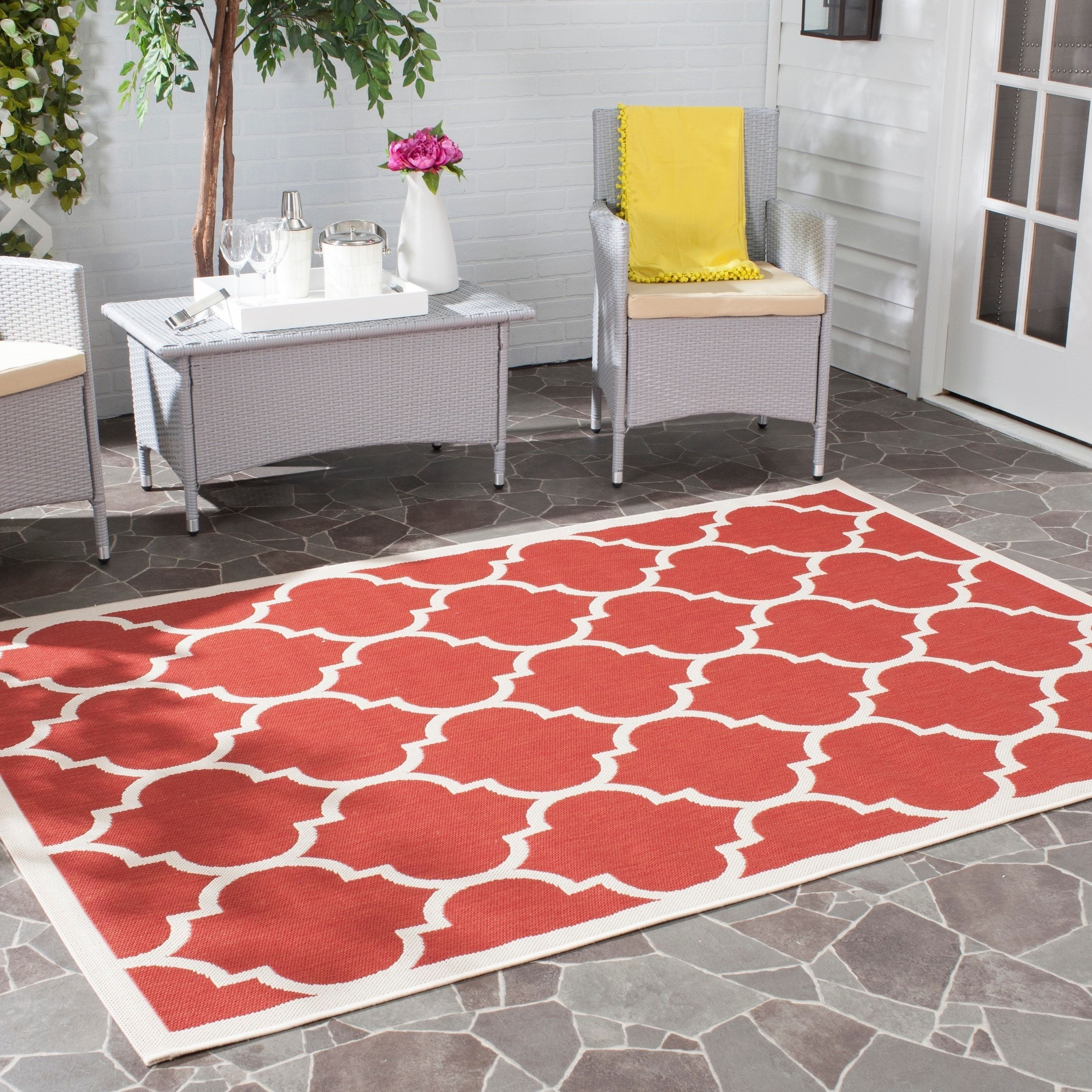 Safavieh Courtyard Moroccan Pattern Red Bone Indoor Outdoor Rug