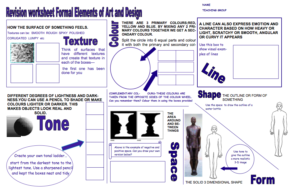 Formal Elements Of Art : Elements of art worksheet year term formal