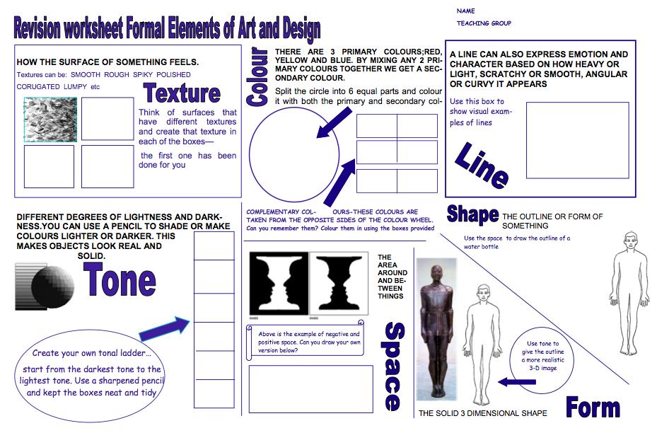 Elements Of Art Worksheet Year 8 Term 1 Formal Elements Olympics