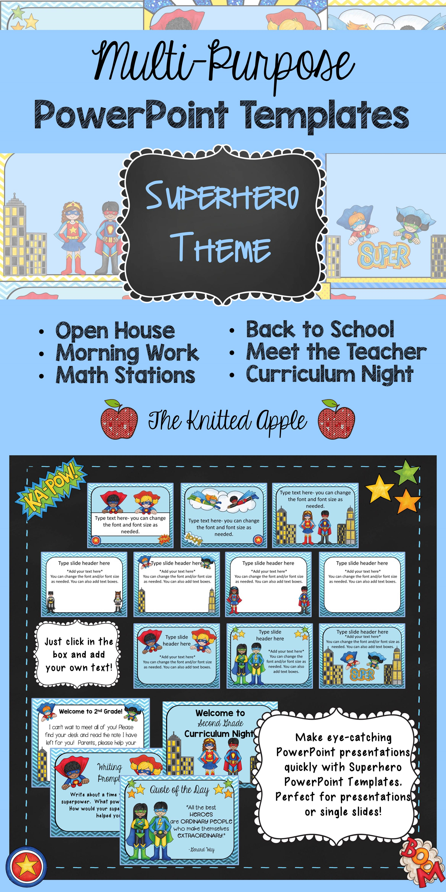 Superhero Theme Powerpoint Templates  Curriculum Night Superhero