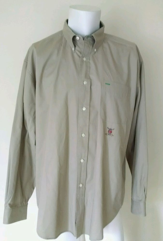 Tommy Hilfiger Golf Men's Dress Shirt Long Sleeve 100% Cotton Khaki Tan XL #TommyHilfiger #ButtonFront