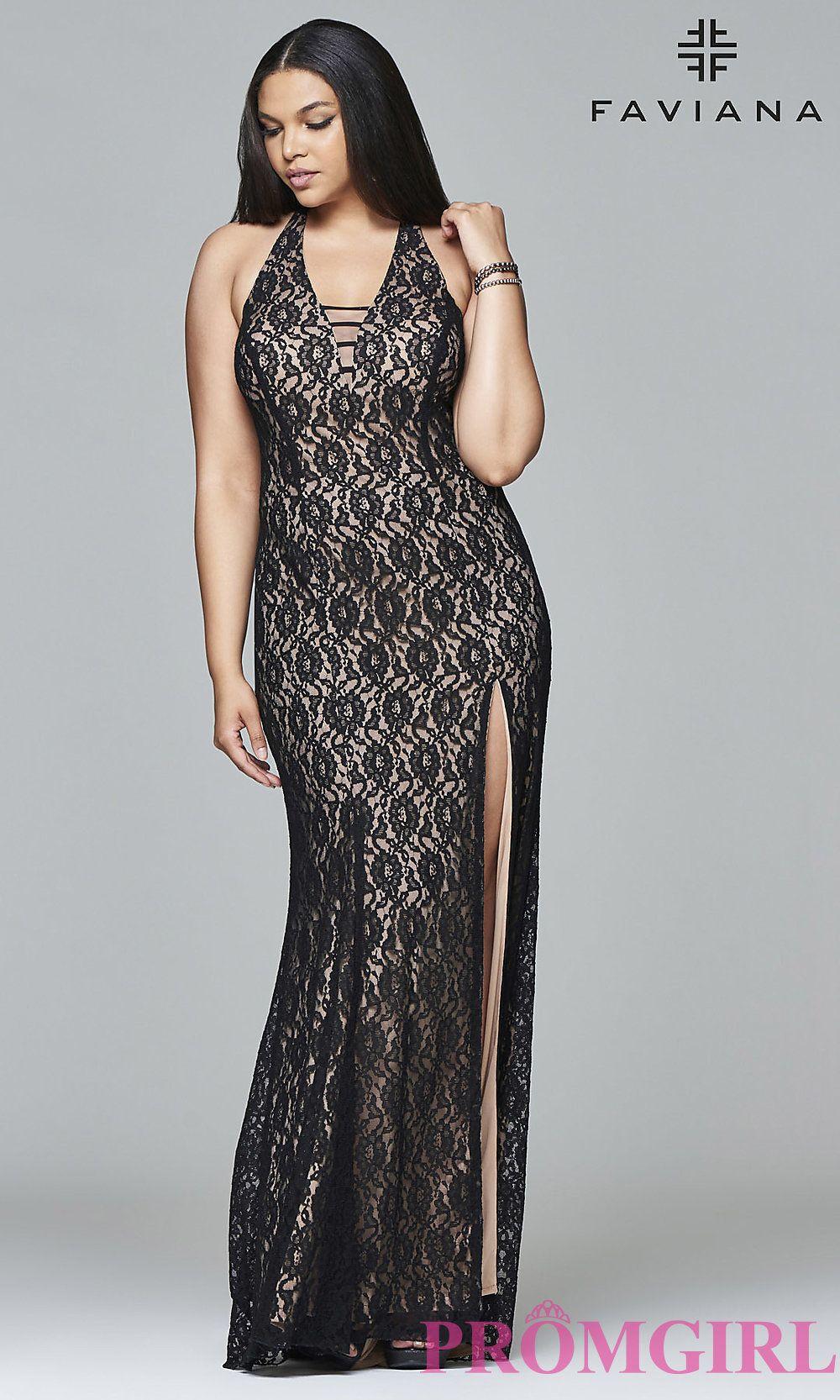 V-neck lace plus-size prom dress with side slit by Faviana. Style ...