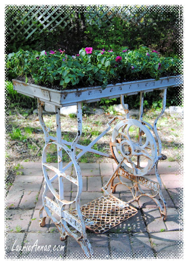 Commercial metal outdoor furniture - A Vintage Sewing Machine Table Base And A Commercial Metal Bread Pan Make A Great Outdoor