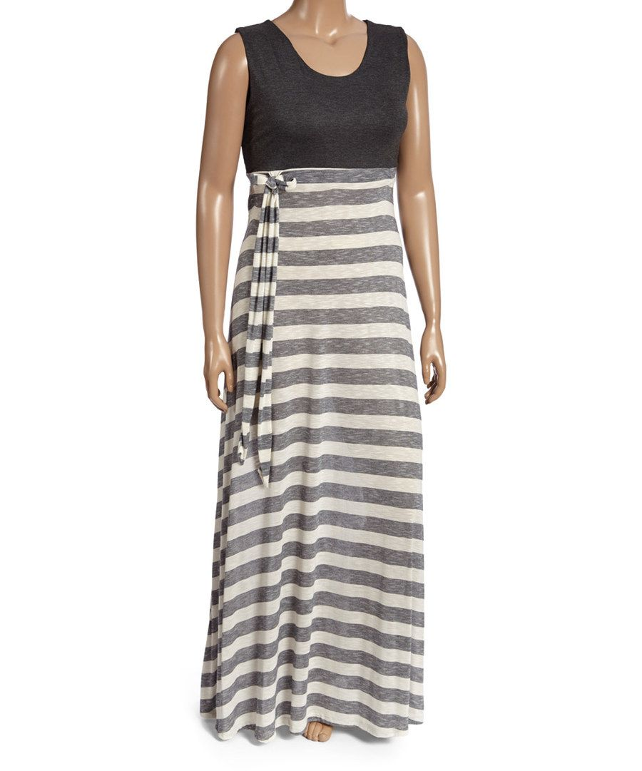 Look at this charcoal u gray stripe sleeveless maxi dress plus on