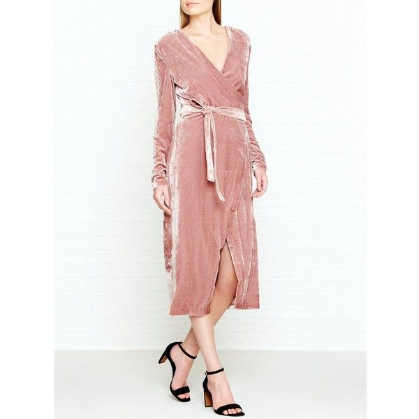Keepsake Eventually Long Sleeve Velvet Wrap Dress (£150) ❤ liked on Polyvore featuring dresses, pink, pink velvet dress, pink dress, white velvet dress, long sleeve velvet dress and white day dress