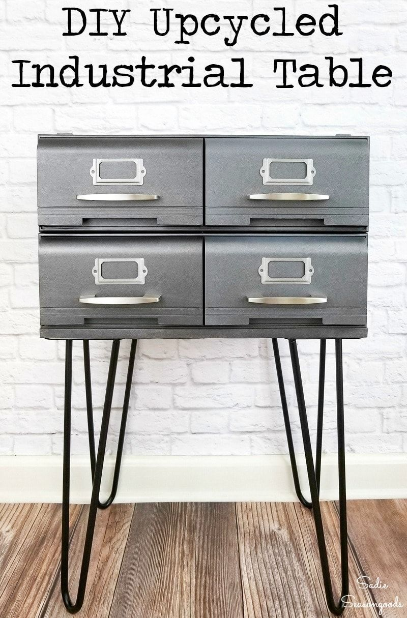 VHS Storage Cases or tape drawers are something you can find at ANY thrift store. Sometimes, they'll even give them away because no one wants them. But what if I told you that this industrial side table was made by upcycling those outdated VHS storage cases? AMAZING, right? And an easier repurposing project than you might think! #upcycledfurniture #DIYfurniture #industrialdecor #industrialstyle #industrialfurniture #DIYindustrialdecor #DIYindustrialfurniture #modernindustrial #industrialchic