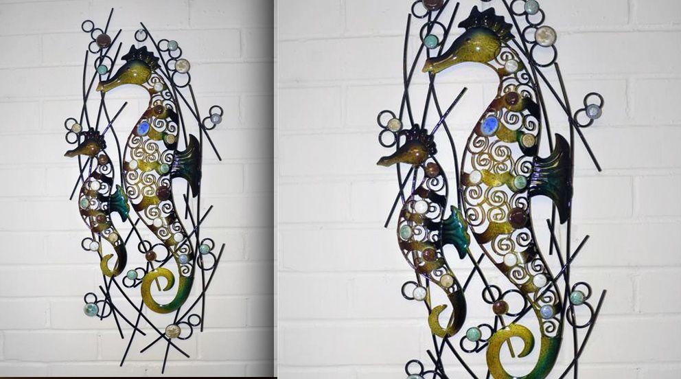 fresque murale en m tal les hippocampes deco murale. Black Bedroom Furniture Sets. Home Design Ideas