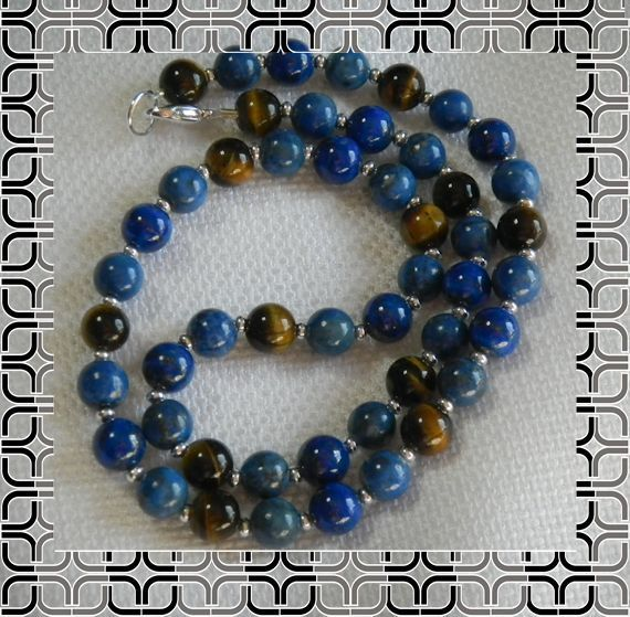 Mens Jewelry Lapis Lazuli and Tiger Eye Necklace great necklace I love jewelry.