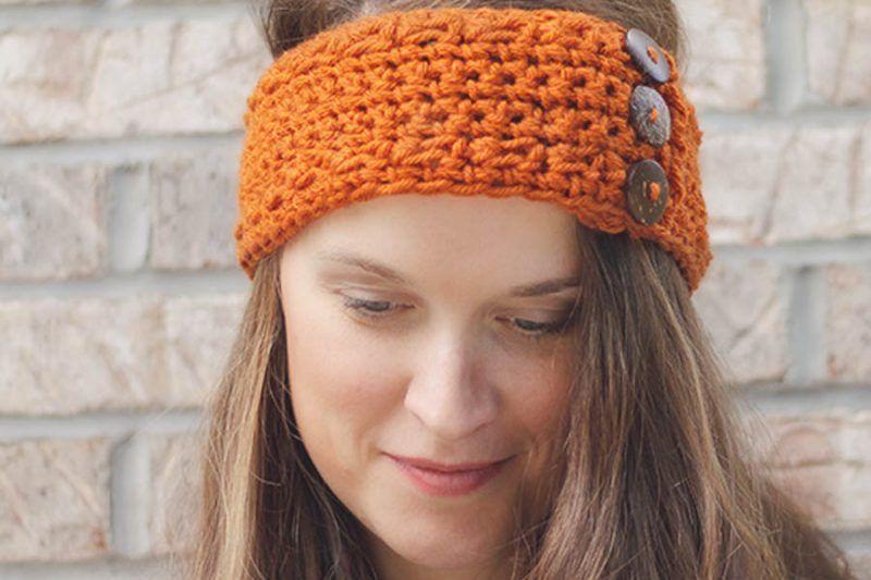 Pumpkin Latte Crochet Ear Warmer Pattern by RPD | Moños