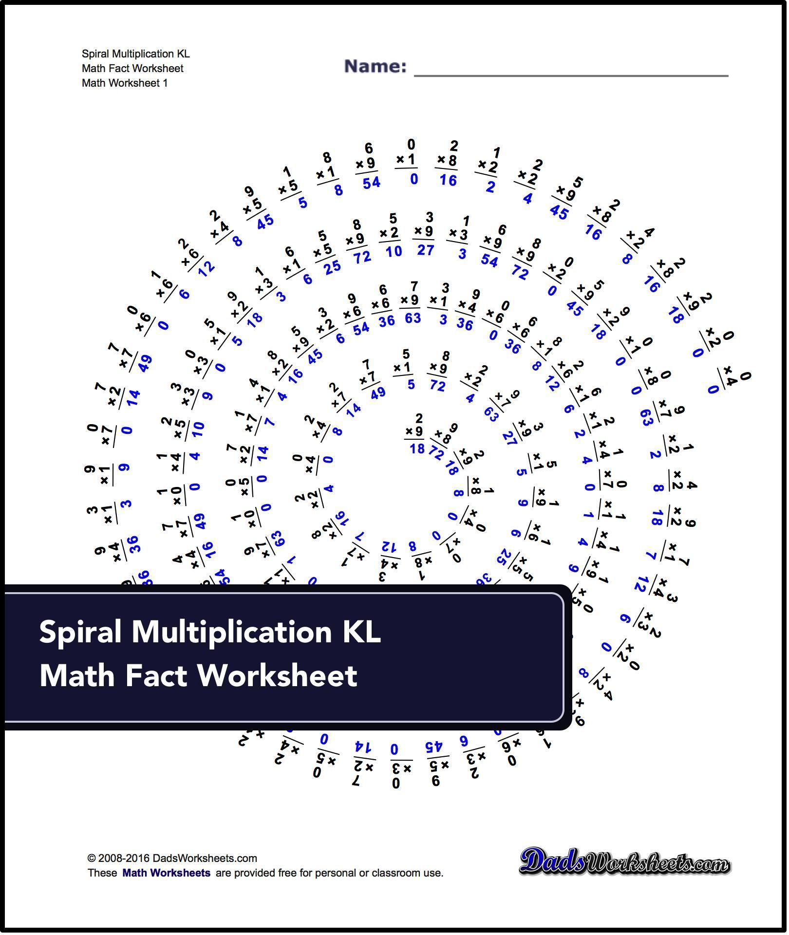 Multiplication Worksheets For Spiral Multiplication Kl