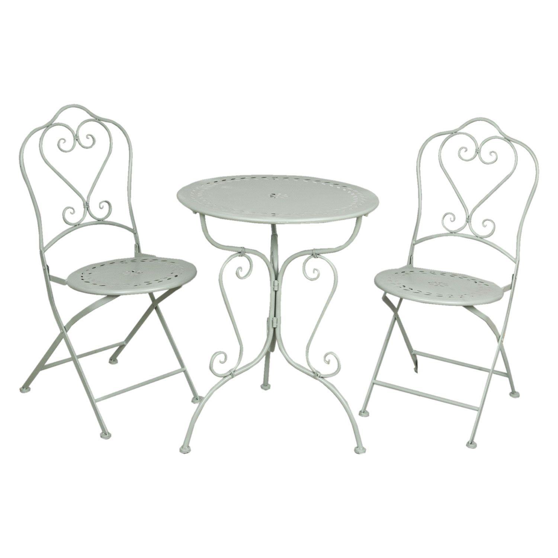 Gartenmöbel SET im Landhausstil Tisch + 2 Stühle grün 5Y0129