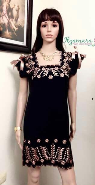 f70fca25623 Itzamara fan page Vestido en lino bordado artesanal