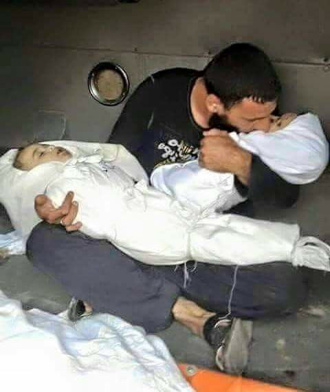 At the time he lost his two lovelybinocent Babies .. Killed by the Zionists