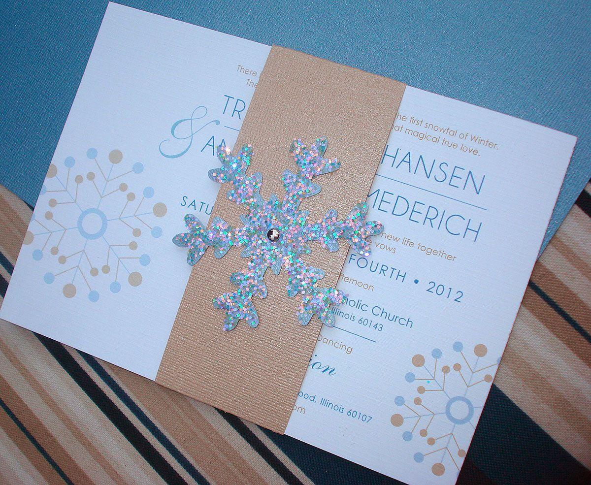 Winter Themed Wedding Invitations: WINTER WONDERLAND TOO Snowflake Wedding Invitation