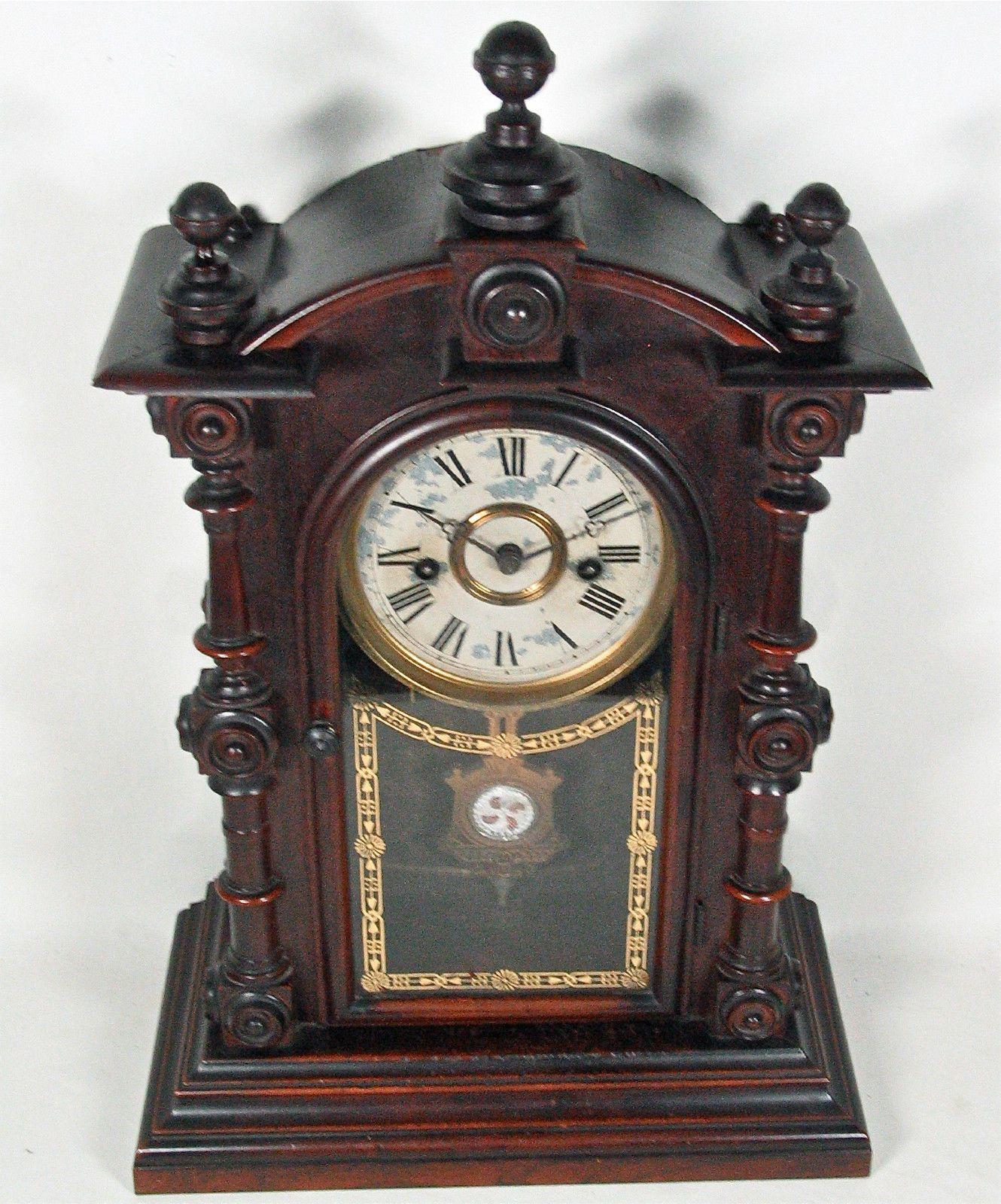 Antique clocks ansonia clock ansonia clock co exact model rare antique welch spring patti v p 8 day rosewood mantel clock original only amipublicfo Images