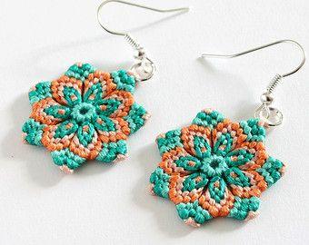 Silver handmade earrings Handmade hippie mandala earrings in mother-of-pearl and turquoise Handmade flower earrings.