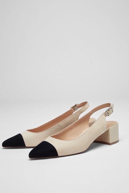 Clon zapatos Chanel bicolor. Replica Slingback heels Chanel Copycat.