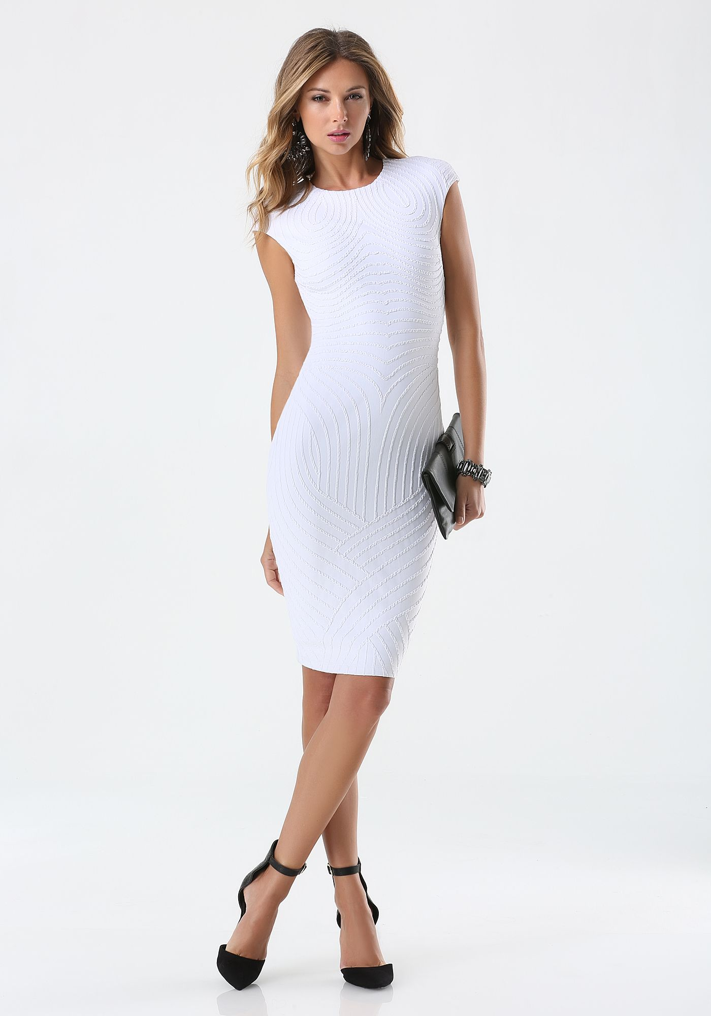 3f07ae0aaab Bebe ---- Textured-Midi-Dress ---- Ludi Delfino ---- 249927-wht ...